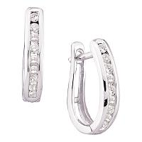 14kt White Gold Womens Round Diamond Single Row Oblong Hoop Earrings 1/4 Cttw