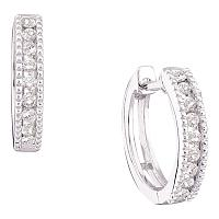 14k White Gold Round Channel-set Diamond Womens Small Hoop Milgrain-accent Earrings 1/4 Cttw