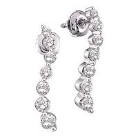 10kt White Gold Womens Round Diamond Graduated Journey Screwback Earrings 1/4 Cttw