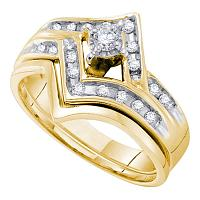 10kt Yellow Gold Womens Round Diamond Chevron Bridal Wedding Engagement Ring Band Set 1/4 Cttw