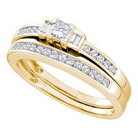14kt Yellow Gold Womens Princess Diamond Bridal Wedding Engagement Ring Band Set 3/8 Cttw