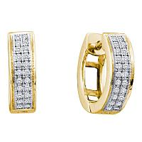 10kt Yellow Gold Womens Round Diamond Double Row Huggie Hoop Earrings 1/6 Cttw