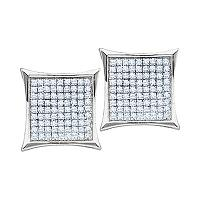 10kt White Gold Womens Round Diamond Square Kite Cluster Earrings 1/10 Cttw