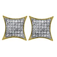 10kt Yellow Gold Womens Round Pave-set Diamond Square Kite Cluster Earrings 1/5 Cttw