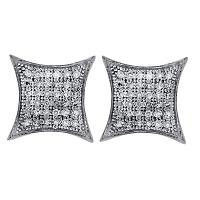 10kt White Gold Womens Round Pave-set Diamond Square Kite Cluster Earrings 1/5 Cttw
