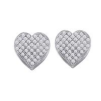 10kt White Gold Womens Round Diamond Heart Cluster Screwback Earrings 1/10 Cttw