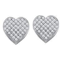 10kt White Gold Womens Round Diamond Heart Cluster Earrings 1/4 Cttw