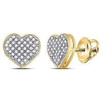 10kt Yellow Gold Womens Round Diamond Heart Cluster Screwback Earrings 1/5 Cttw