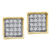 10kt Yellow Gold Womens Round Diamond Square Cluster Earrings 1/20 Cttw