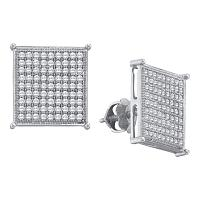 10kt White Gold Womens Round Diamond Square Cluster Stud Earrings 3/8 Cttw