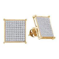 10kt Yellow Gold Womens Round Diamond Square Cluster Screwback Earrings 1/2 Cttw