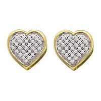 10kt Yellow Gold Womens Round Diamond Heart Cluster Earrings 1/8 Cttw
