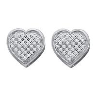 10kt White Gold Womens Round Diamond Heart Cluster Screwback Earrings 1/8 Cttw