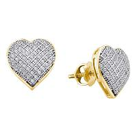 10kt Yellow Gold Womens Round Diamond Heart Love Earrings 1/3 Cttw