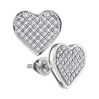 10kt White Gold Womens Round Diamond Heart Cluster Screwback Earrings 1/4 Cttw