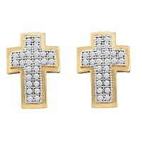 10kt Yellow Gold Womens Round Diamond Cross Screwback Stud Earrings 1/6 Cttw