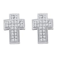 10kt White Gold Womens Round Diamond Christian Cross Religious Stud Earrings 1/6 Cttw