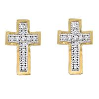 10kt Yellow Gold Womens Round Diamond Concave Cross Screwback Stud Earrings 1/10 Cttw