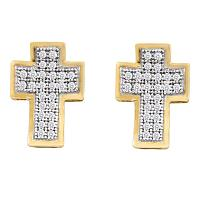 10kt Yellow Gold Womens Round Diamond Concave Cross Stud Earrings 1/6 Cttw