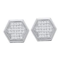10kt White Gold Womens Round Diamond Hexagon Cluster Earrings 1/5 Cttw