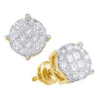 14kt Yellow Gold Womens Princess Round Diamond Soleil Cluster Earrings 2.00 Cttw