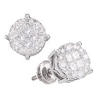 14kt White Gold Womens Princess Round Diamond Soleil Cluster Earrings 2.00 Cttw