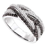 14kt White Gold Womens Round Black Color Enhanced Diamond Woven Strand Band Ring 7/8 Cttw