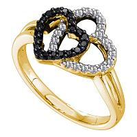 14kt Yellow Gold Womens Round Black Color Enhanced Diamond Double Heart Ring 1/4 Cttw
