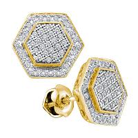 10kt Yellow Gold Womens Round Diamond Cluster Hexagon Stud Earrings 1/3 Cttw