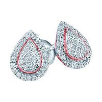 10kt White Gold Womens Round Diamond Rose-tone Teardrop Cluster Screwback Earrings 1/5 Cttw