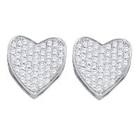 10kt White Gold Womens Round Diamond Heart Love Cluster Earrings 1/3 Cttw
