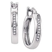 10kt White Gold Womens Round Diamond Hoop Earrings 1/20 Cttw