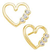 10kt Yellow Gold Womens Round Diamond Simple Heart Screwback Earrings 1/12 Cttw