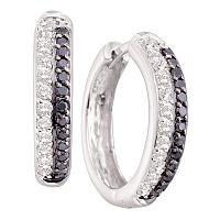 14kt White Gold Womens Round Black Color Enhanced Diamond Hoop Earrings 5/8 Cttw