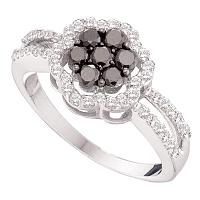 14kt White Gold Womens Round Black Color Enhanced Diamond Flower Cluster Ring 3/4 Cttw