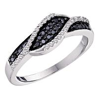 14kt White Gold Womens Round Black Color Enhanced Diamond Crossover Band 1/4 Cttw