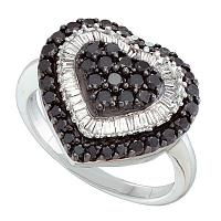 14kt White Gold Womens Round Black Color Enhanced Diamond Heart Love Ring 1-1/5 Cttw