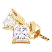 14kt Yellow Gold Unisex Princess Diamond Solitaire Stud Earrings 3/8 Cttw