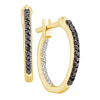 14kt Yellow Gold Womens Round Black Color Enhanced Diamond Inside Outside Hoop Earrings 1/4 Cttw