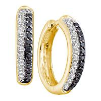 14kt Yellow Gold Womens Round Black Color Enhanced Diamond Hoop Earrings 5/8 Cttw