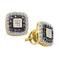 14kt Yellow Gold Womens Round Black Color Enhanced Diamond Square Stud Earrings 1/2 Cttw