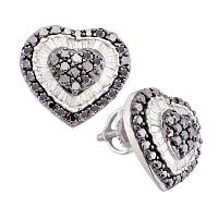 14kt White Gold Womens Round Black Color Enhanced Diamond Heart Cluster Screwback Earrings 1-1/2 Cttw