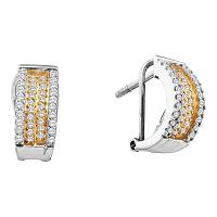 14kt White Gold Womens Round Diamond Huggie French-clip Earrings 1/2 Cttw