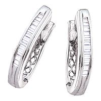 10kt White Gold Womens Baguette Channel-set Diamond Hoop Earrings 1/2 Cttw