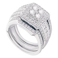 14kt White Gold Womens Round Diamond Halo 3-Piece Bridal Wedding Engagement Ring Band Set 1-1/2 Cttw
