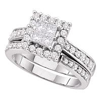 14kt White Gold Womens Princess Diamond Square Halo Bridal Wedding Engagement Ring Band Set 1.00 Cttw