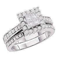 14kt White Gold Womens Princess Diamond Square Halo Bridal Wedding Engagement Ring Band Set 1/2 Cttw