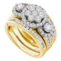 14kt Yellow Gold Womens Round Diamond 3-Piece Bridal Wedding Engagement Ring Band Set 2.00 Cttw
