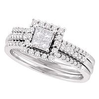 14kt White Gold Womens Princess Diamond 3-Piece Halo Bridal Wedding Engagement Ring Band Set 1/2 Cttw