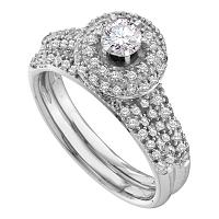 14kt White Gold Womens Round Diamond Halo Bridal Wedding Engagement Ring Band Set 1/3 Cttw